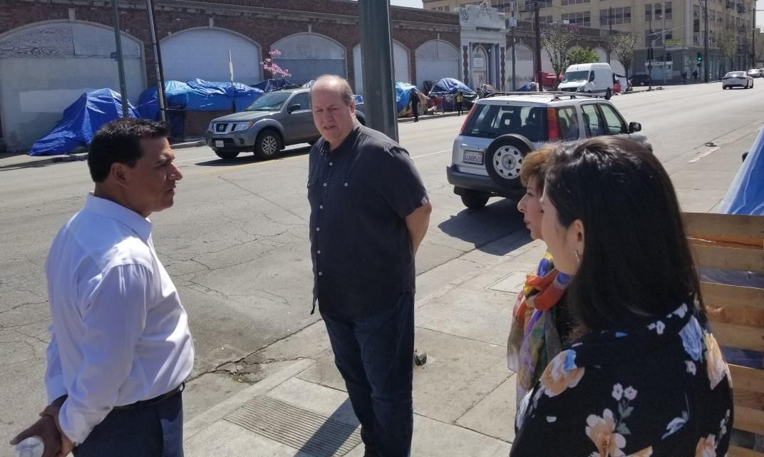 14th District City Councilmember Jose Huízar meeting with IDBID Chairman Mark Shinbane, Executive Director Estela Lopez and Deputy Edna Degollado (l-r), touring the district.