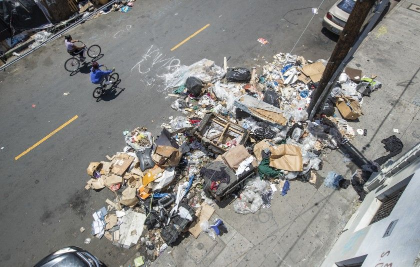 Photo from the LA Times recent editorial 'There's a trash and rodent nightmare in downtown L.A., with plenty of blame to go around'.